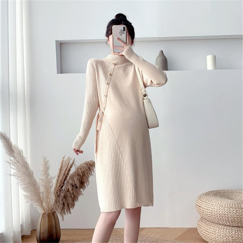 Maternity Dresses Dress Turtleneck Sweater Full Sleeve Loose Knit Button Pregnant Women Clothes Autunm Winter