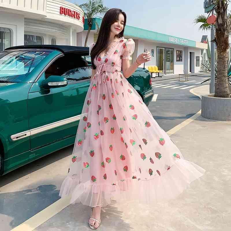 Vestido de morango Sequined Bordado Cascading Ruffle Maxi Dress Mulheres Verão Verão V-Neck Slow Sleeve Bow Rosa Tule Mesh vestido longo 210322