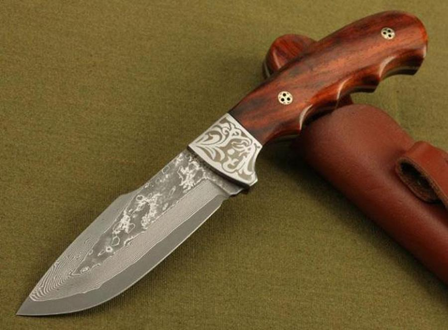 Excellent quality Damascus hunting knife Red rosewood Handle 58HRC Blade Outdoor camping hiking survival knife knives Collectable