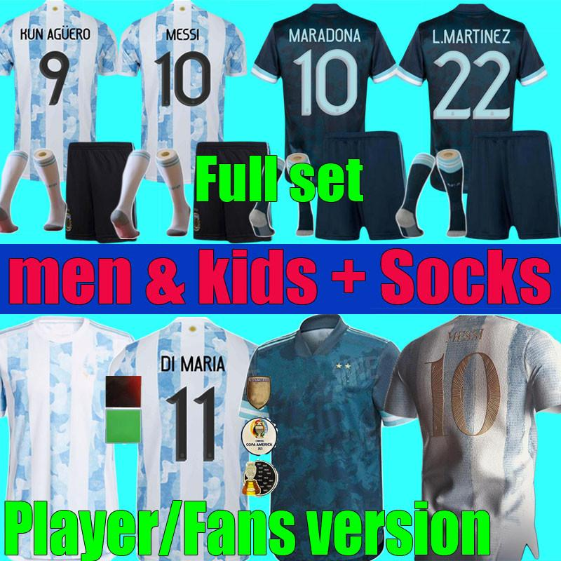 Version des fans Version 2021 2022 Argentine Messi Football Football Football Jerseys Maradona Men Ensennes Ensembles 21 22 Kun Agüero Di Maria Lo Celso Martinez Kit de chemise Kit Socks Uniformes
