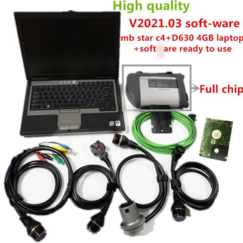 2021 Ferramenta de diagnóstico de Star C4 de Chip Full MB com 2021.03 HDD de soft-ware mais recente com D630 4G Laptop para MB Ferramenta de Programação de Diagnóstico