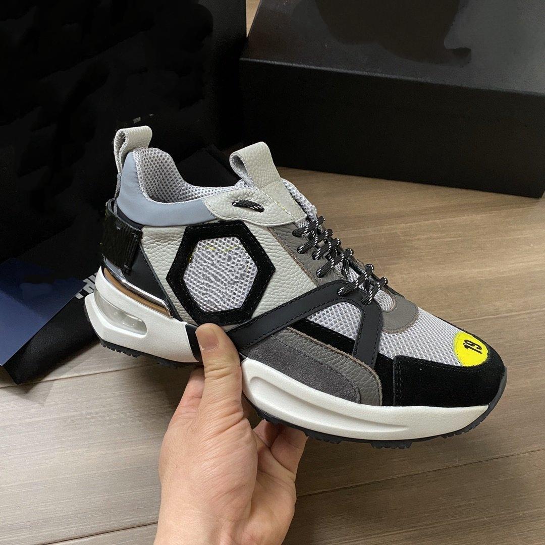 Philipp Plein PP Tasarımcı Ayakkabı Moda Lüks Ayakkabı erkek Deri Lace Up Platformu Boy Taban Sneakers Rahat Ayakkabılar Boyutu 38-45