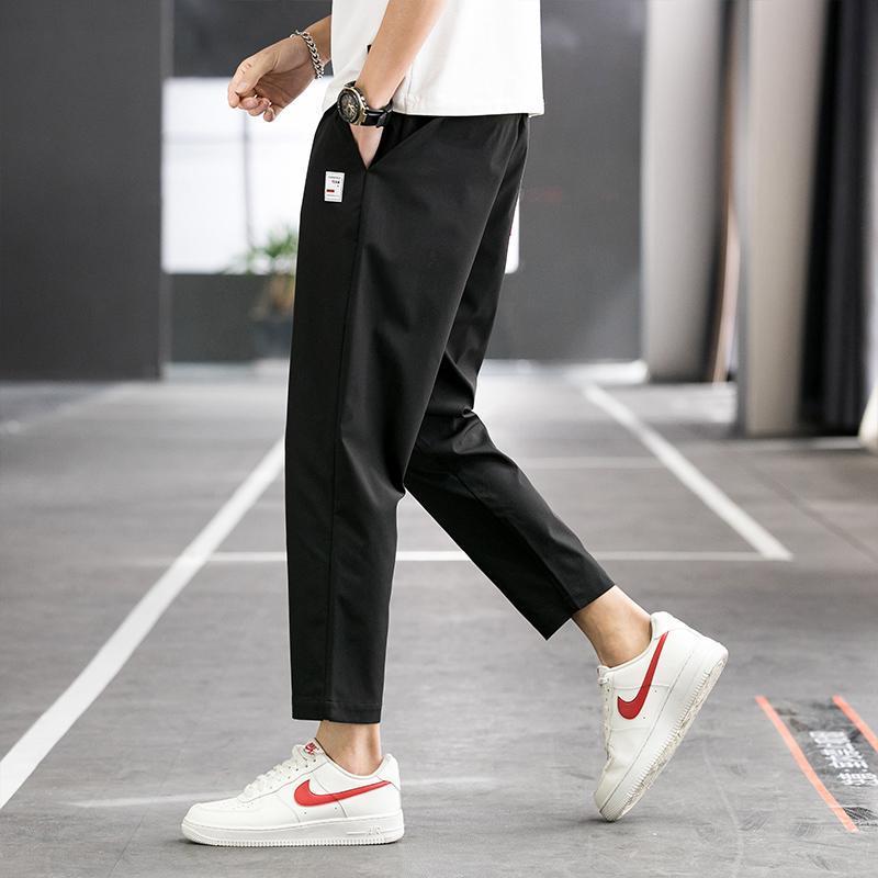 슬림 한 비즈니스 캐주얼 바지 스트레이트 패션 체육관 남자 미적 검은 색 spodnie meskie mens 옷 dh50xx 남자