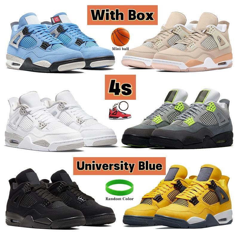 مع صندوق الجامعة الأزرق 4 4 ثانية أحذية كرة السلة لامع الأبيض اوريو جولة أصفر أسود سي نيون صبار جاك المعدنية الأخضر الرجال النساء أحذية رياضية