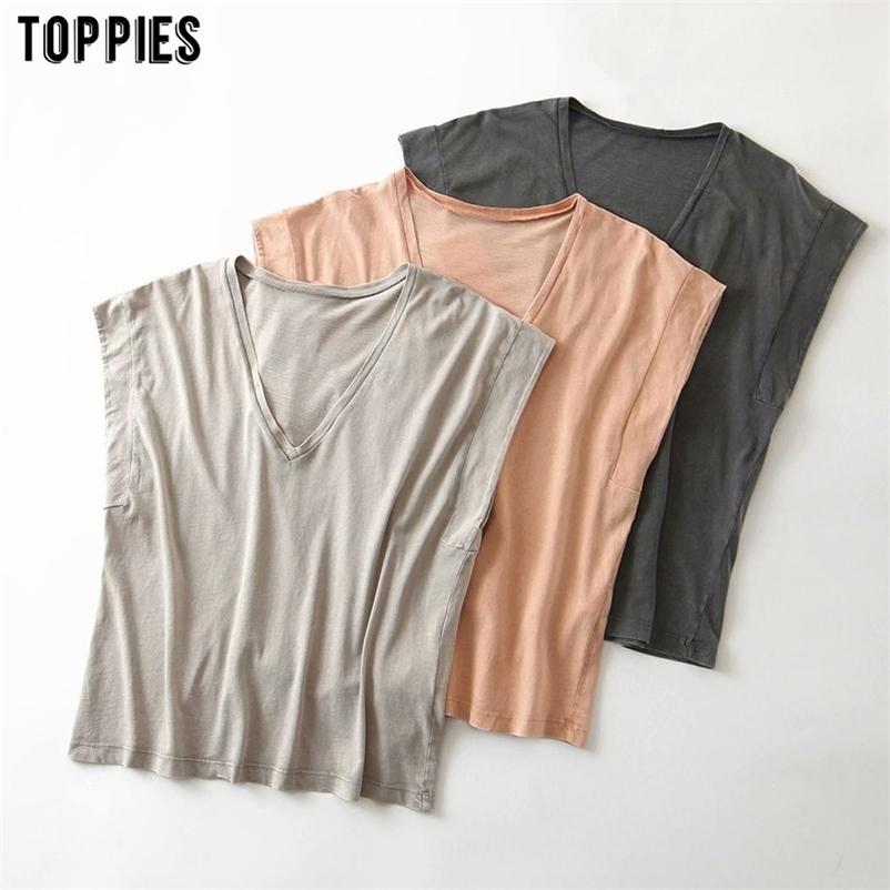 Toppies de Algodão de Verão camisetas Mulheres Sem Mangas V-Neck tops T-shirts de cor sólida 210320