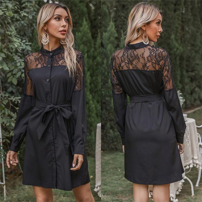 إمرأة طويل الأكمام اللباس الرباط المرقعة زر سترة ضمادة قميص فساتين مثير جوفاء النساء ربيع الخريف الخريف الملابس