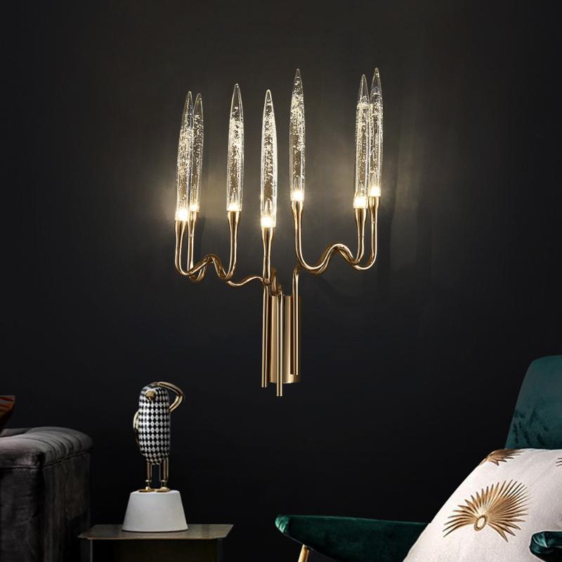 الجدار مصباح الحديثة شمعة الشمعدان الفاخرة الكريستال ضوء السرير غرفة المعيشة الإضاءة الداخلية تركيبات ديكور المنزل الذهب كريستال
