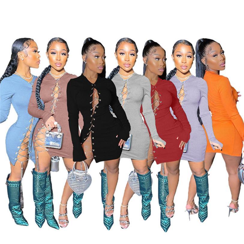 Femmes simples mini robes 2xl Sexy Party Manches longues Couleur Solide Couleur Élégante Jupe Équipe Étape Vêtements occasionnels DHL 4676