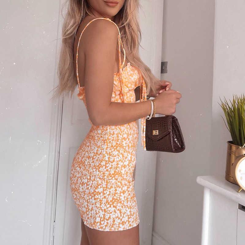 Kryptographische Mode Blumendruck Frauen Mini Kleider Holiday Sommerkleid Sommer Sexy Backless Kleid Böhmische Hohe Taille Minikleid Y0603