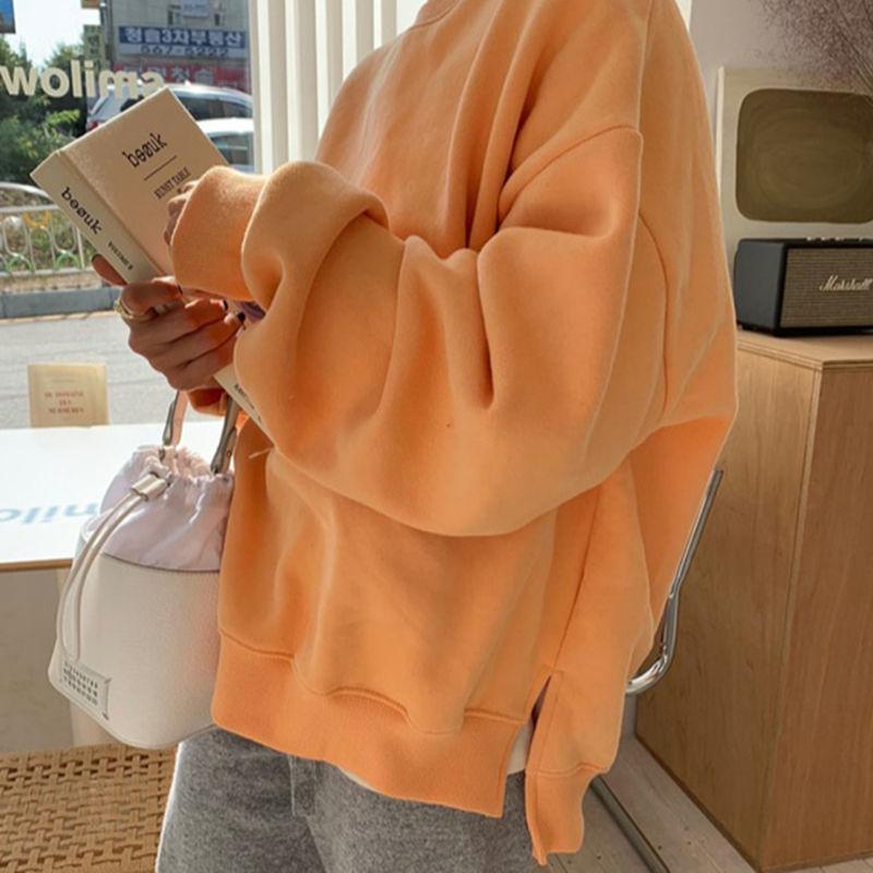Talla grande Casual señoras Sudadera con capucha 2021 Nuevo Cuello redondo Pullover Sudadera de color sólido dulce y cálido Sudadera de manga larga suelta Top para mujer