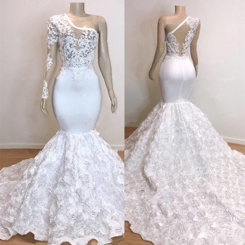 Plus Size Mermaid Wedding Dress One Shoulder Appliqued Lace Marriage Bridal Dresses Chic Formal Party Gowns Rose Robe de mariée