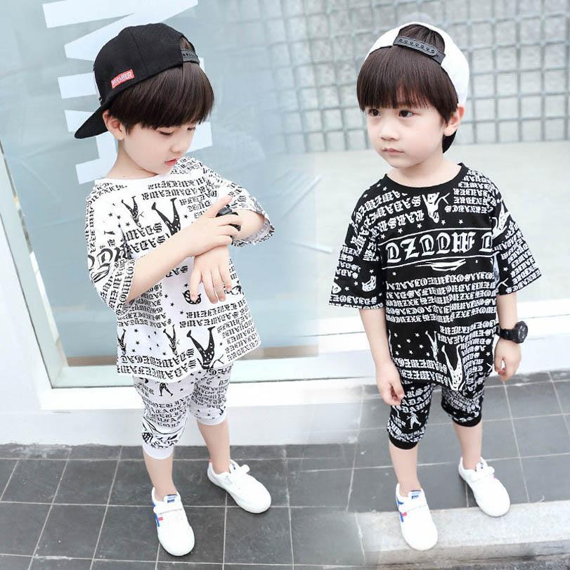 Baby Clothing Sets Boy Suit Boys Suits Children Summer Cotton Short Sleeve Letter T-shirts Pants Shorts Casual Kids Tracksuit 2-7Y B4862