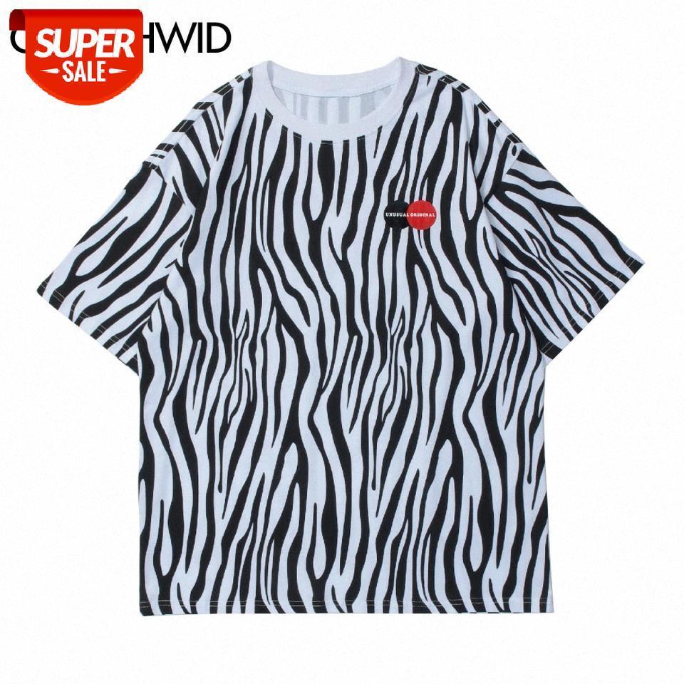 Camisetas Hip Hop Streetwear Harajuku Verano Hombres Zebra Rayas de manga corta Tees Algodón Casual Fashion Foot Tshirt Tops # GN9U