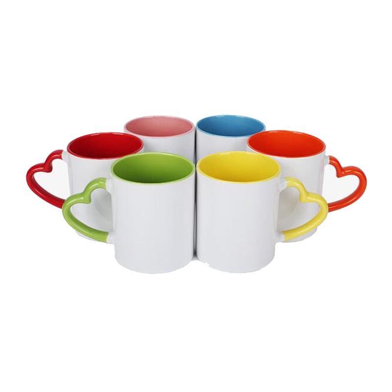 Sublimação Caneca cerâmica em branco Moda coração em forma de cabo de cor de cor xícaras de água DIY Copo de café 320ml