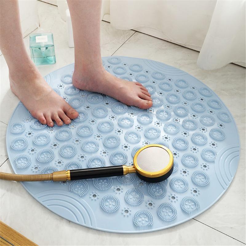 Rodada antiderrapante chuveiro chuveiro casa casa de banho pvc dreno buracos sucção copos de assoalho massagem pé almofada tapetes de banho elásticos