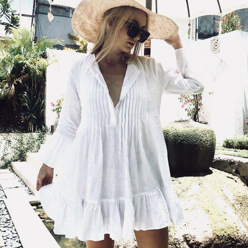 Trendy Katı Seksi Yaz Kadınlar Beyaz Bikini Kapak Up Mayo Mayo Plaj Elbise Sarongs Tops