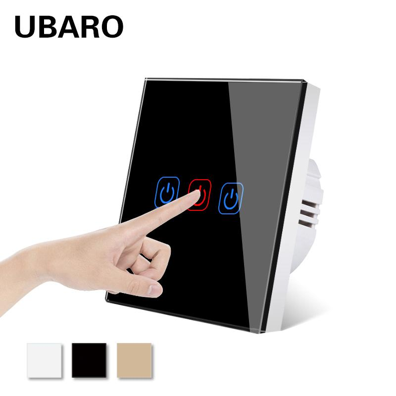 UBARO EU/UK Tempered Crystal Glass Panel Wall Light Touch Switch On/Off Lichtschalter Power Sensory Home Switches 3 Gang 220V