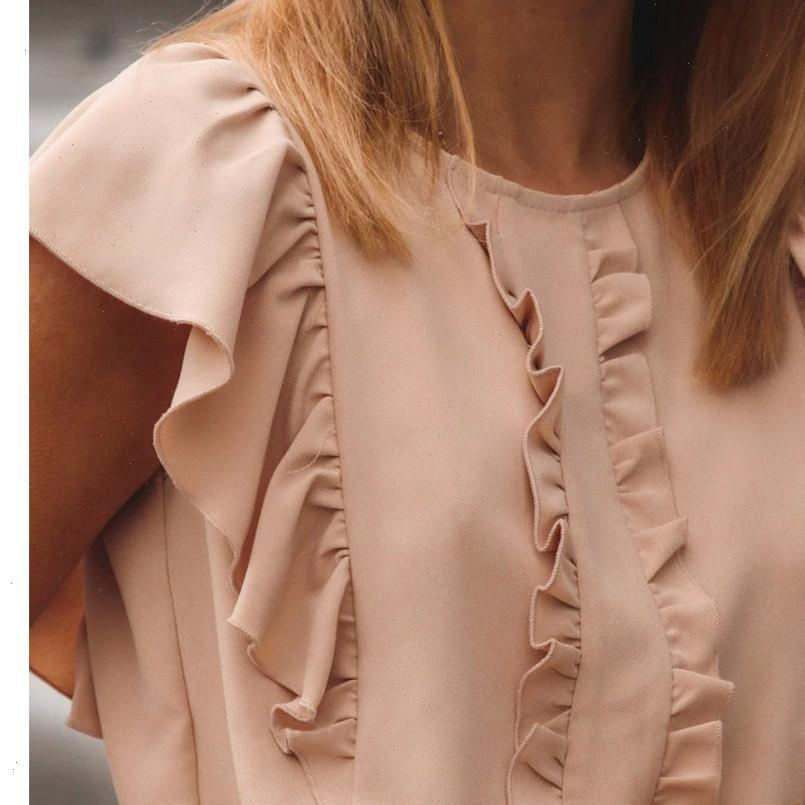 Camicie da donna H25 Moda Rosa Rock Ruffles Donne Camicette Estate Colore Round Solid Color Ruffled Sleeve Sleeve Tops And Bluses Office