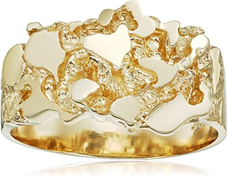 Мужские женские из нержавеющей стали текстурированное кластерное наггетное кольцо наггет 14k 18K 24K сплошной желтый позолоченные позолоченные алмазные резки пара ювелирных изделий полоса 8 мм 18 мм ширина
