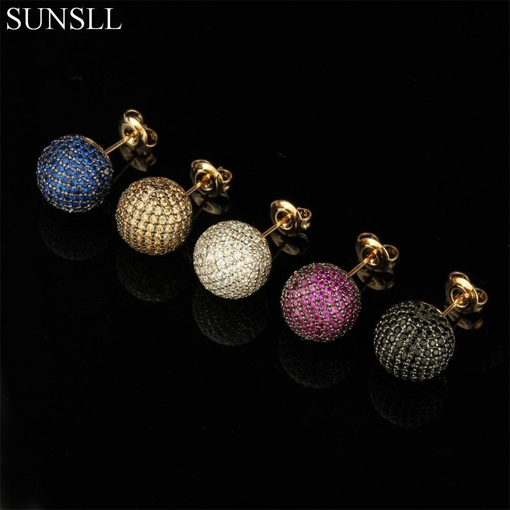 Sunsll الذهبي اللون النحاس دبابيس متعدد الألوان زركون أقراط المرأة حزب الأزياء والمجوهرات كوزي تشيكوسلوفاكيا brincos 210323