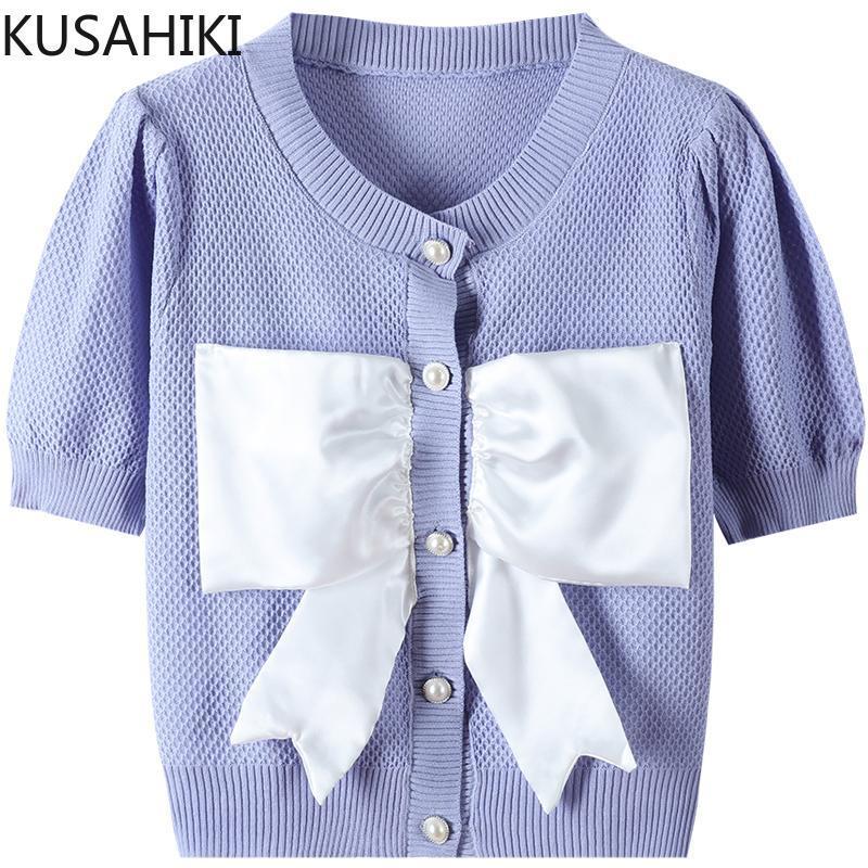 Damenstricke T-Shirts Kusahiki Patchwork Bowknot Gestrickte Strickjacke Kurzarm Frauen Sommer Strickwaren Koreanische Elegante Oansatz Strick Tops 6J96