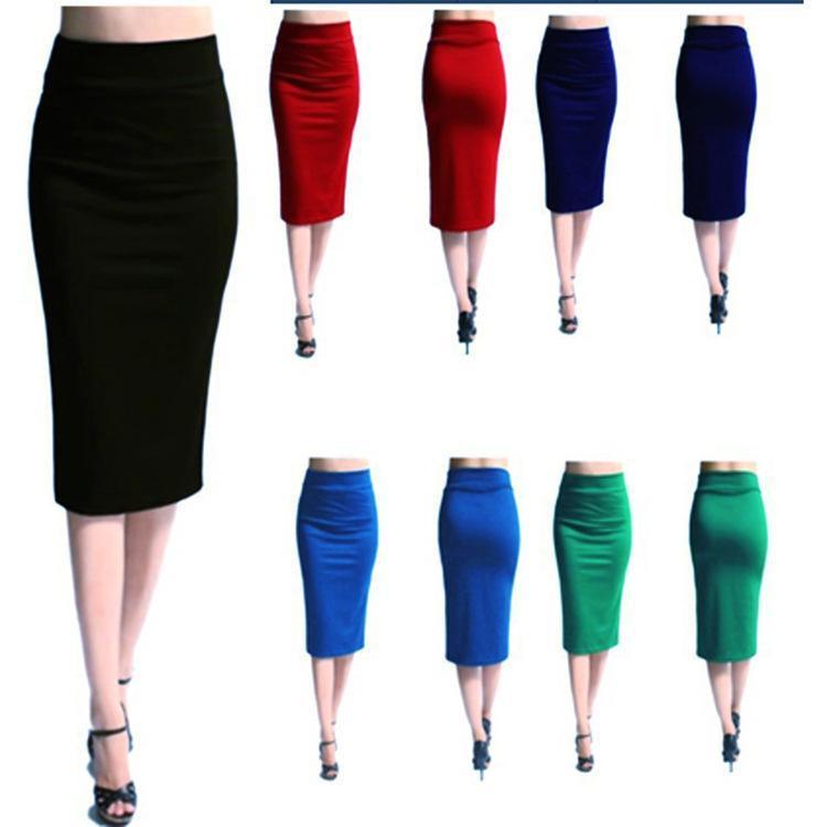 Faldas Haimaitong Mujeres sexy Mini Bodycon Falda de la rodilla Longitud de la rodilla Lápiz de la oficina Lady Work Wear