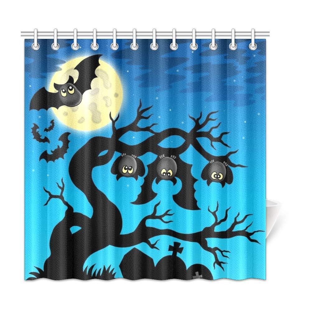 Xiucoo Feliz Halloween Árvore Ramo Casa Decoração Decoração de Poliéster Fashion Curtain Curtain Sets 72 x 72 Polegadas
