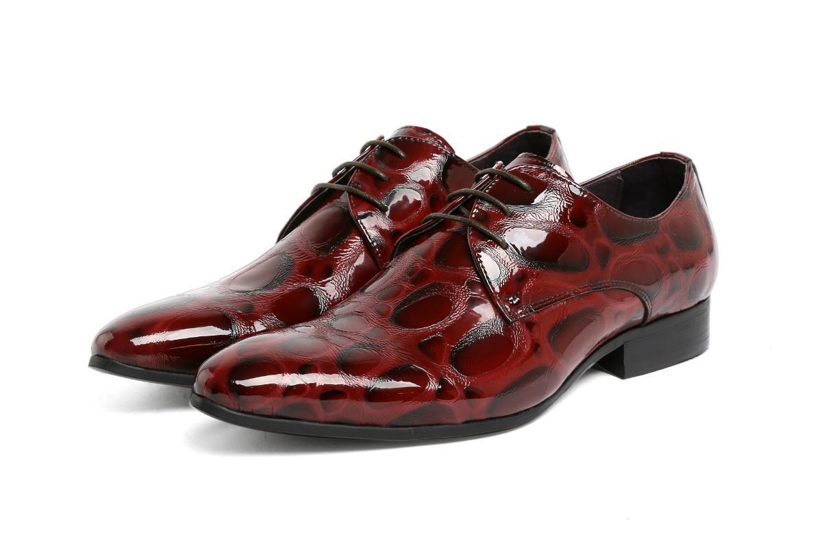 Vestido sapatos couro homens pointed toe formal desgaste couro patente homens casamento
