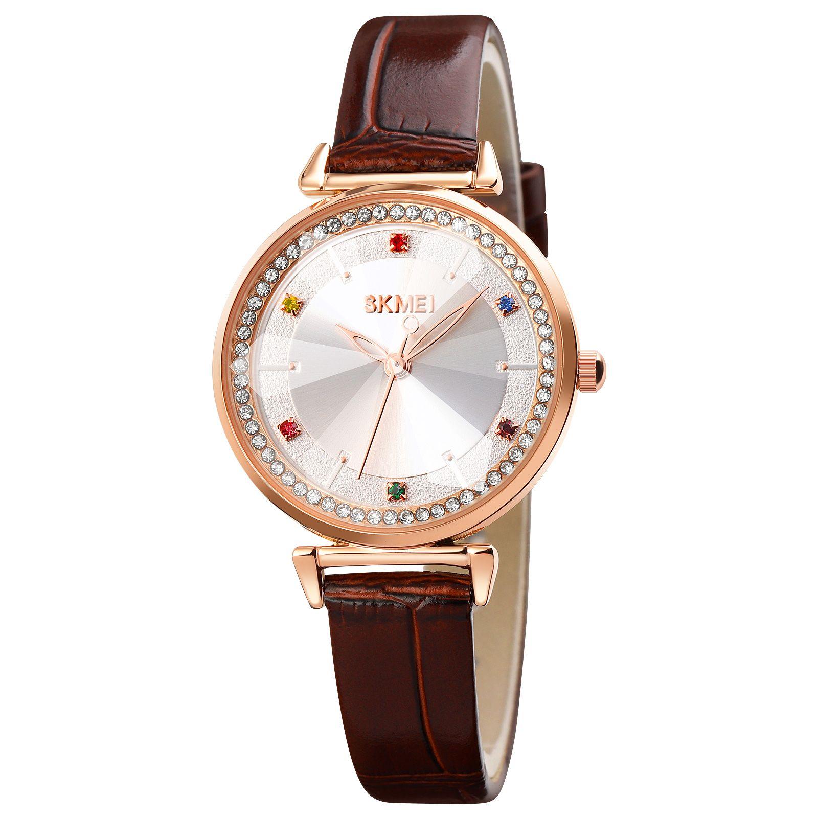 SKMEI 1780 Top Brand Luxury 2021 Genuine Leather Women Watch Elegant Ladies Quartz Wristwatches Relogio Feminino Female Clock