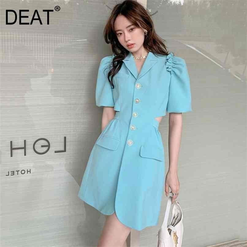 Frauen Blaue Falten Aushöhlen Single Breasted Taschen Kleid gekerbt Kurzarm Slim Fit Mode Sommer 7E346 210512