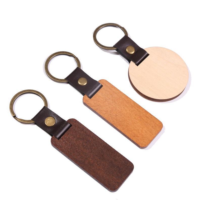 Schmuck Personifizieren Sie DIY Leder Keychain Anhänger Buchen Holz Carving Schlüsselanhänger Gepäckdekoration Schlüsselanhänger Festival Geschenk