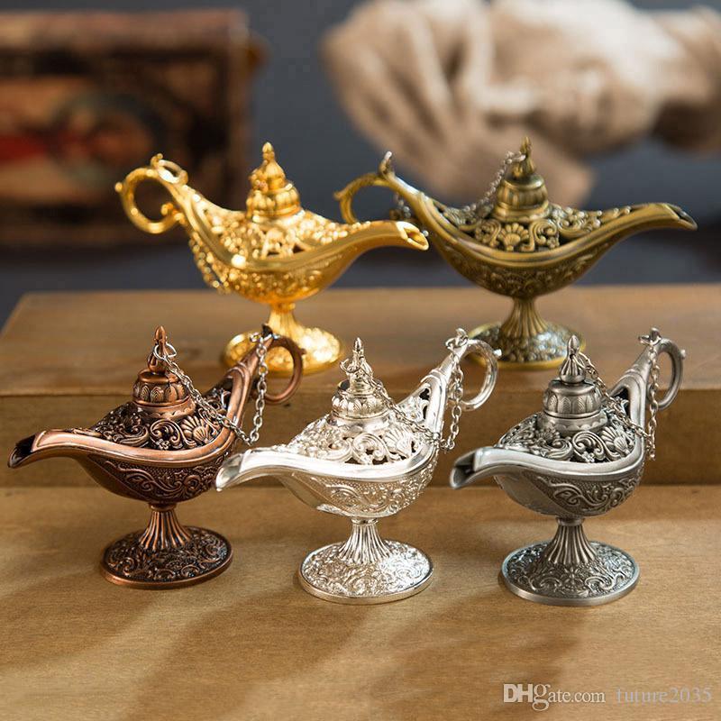 Fairy Tale Aladdin Magic Lamp Vintage Censer Creative Metal Aroma Burner Multi Color Incense Burners Christmas Gift