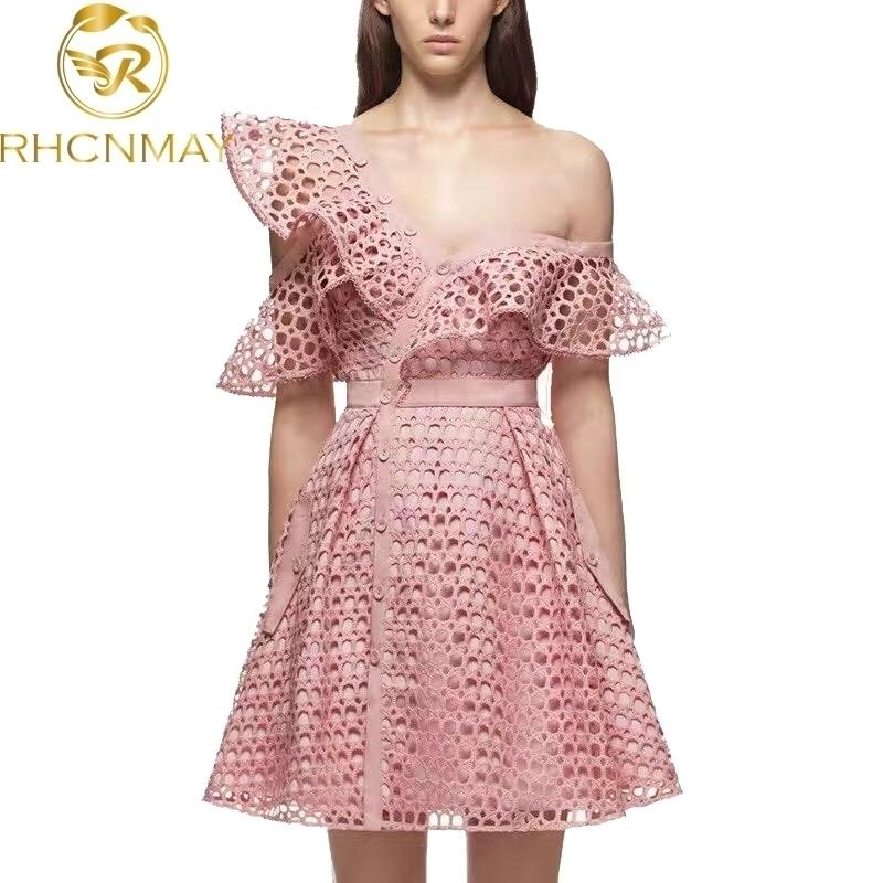 Self Portrait Luxury Runway Dress New Arrival Asymmettical Neck One-Shoulder Lace Hollow Out Patchwork Runway Pink Dress 210325