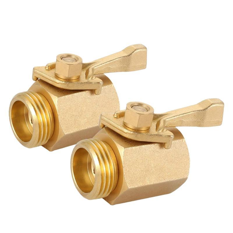 Heavy Duty 3/4 Inch Brass Shut Off Valve Garden Hose Connector (2 Pack), Water Parts Inlet And Outlet Thread With Com Watering Equipments