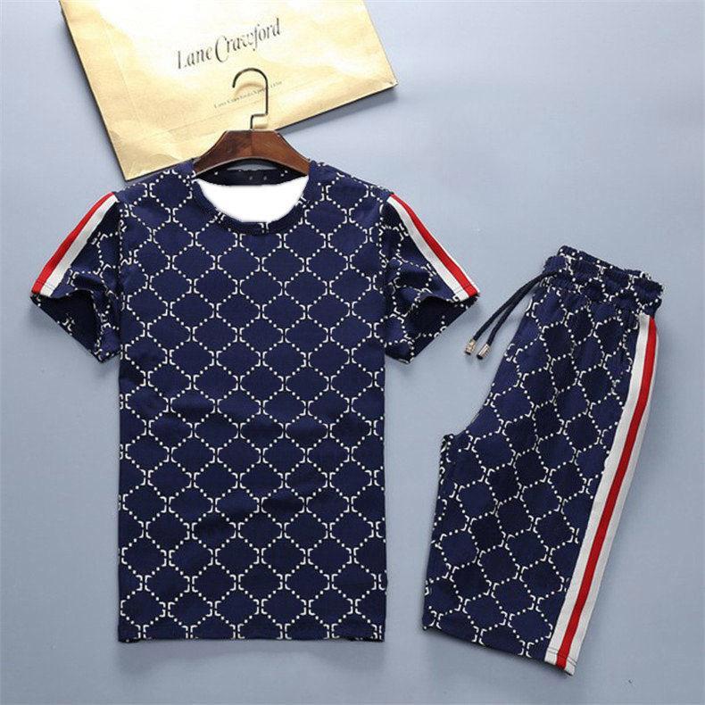 Moda de moda Trajes de verano T Shirts + Pantalones cortos Conjuntos de ropa con letras Casual Streetwear Tendencia Trán Trajes Hombres Camisetas transpirables Pantalones 4 colores