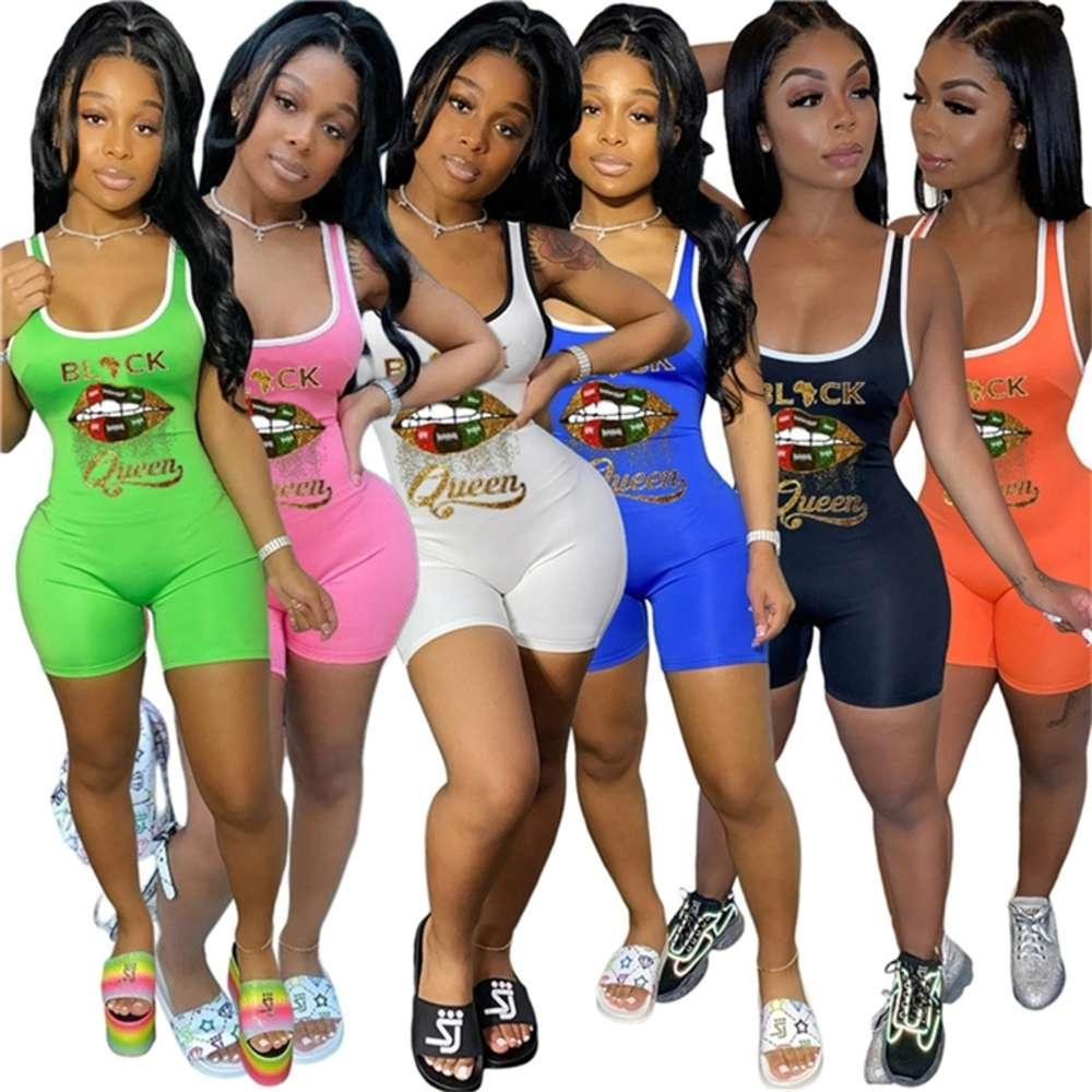 Été Femmes Vêtements Débardeur Jumpseau à lèvres Print Rompers Rompes sans manches Vest de réservoir Skinny BodySuits Candy Black Combinaisons Couleur D61813