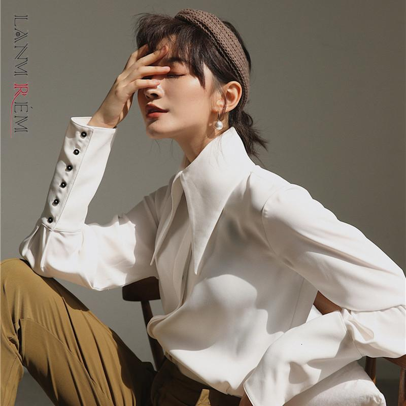 LANMREM 2021 Nueva Moda Otoo Ropa de Muyer Manga Linterna Cuello Grande Blusa Camisa Blanca WK00800M Vintage