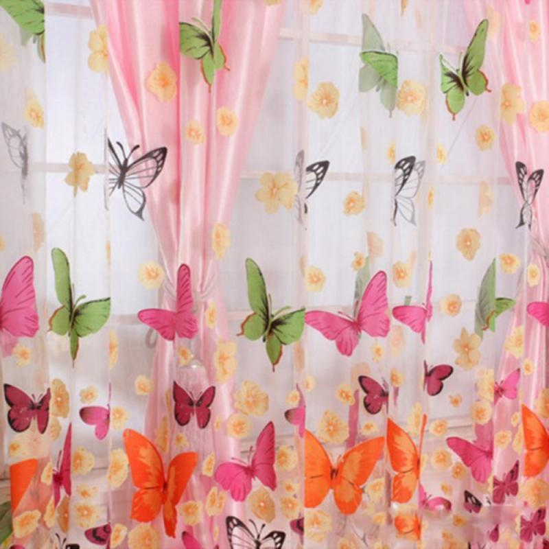 Vorhangdrapes Klassische Schmetterling Tüll-Bildschirme Sheer Voile-Vorhänge TRAPE Panel Fensterdekor