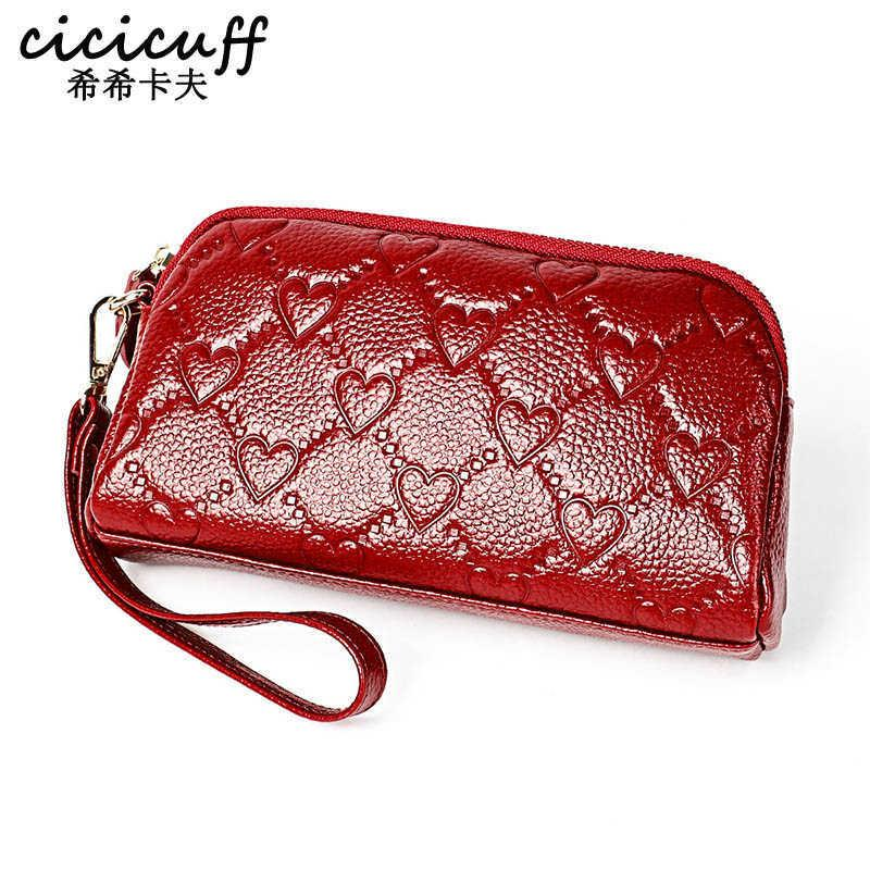 Cicicuff 2020 جديد أزياء جلد طبيعي المرأة اليوم براثن العلامة التجارية الشهيرة طويل محافظ السيدات عملة محفظة مخلب محفظة حقيبة المال Q0709