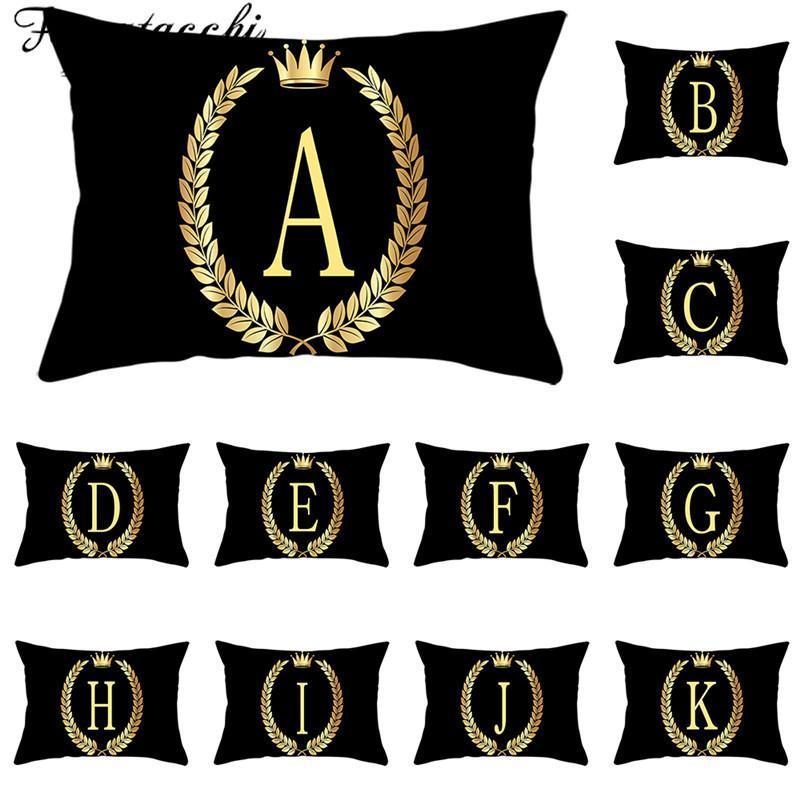 Cojín / almohada decorativa Fuwatacchi Negro Cojín de oro Cubiertas Crown Impreso A-Z Alfabeto AlfabetoCasas de almohadas para Sofá Home Decorativo 30 * 50cm