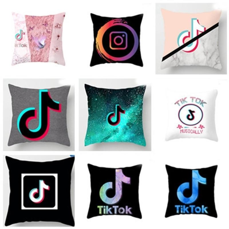New Tik Tok Voice Jitter Tiktok Cushion Pattern Pillow Polyester Cushion Sofa Bed Throw Pillows Without Pillow Inner G4YWZ0V