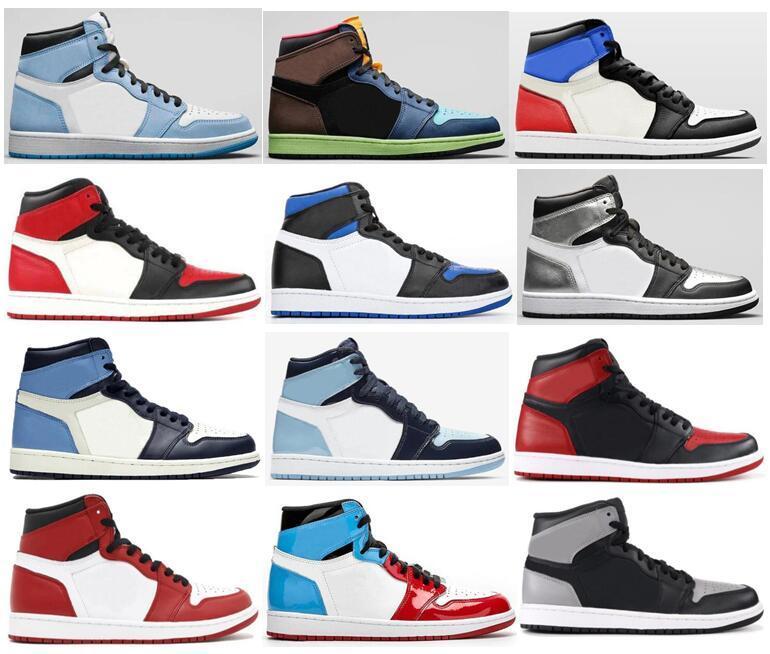 Université Blue Royal Toe Bred Toe Chicago Sans Fearless Basketball Chaussures à mi-légère Fumée Gris Hommes 1S Silver Toe Shadow Obsidienne Sneakers