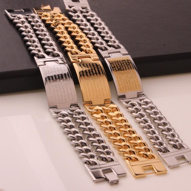 Bağlantı, Zincir 23mm Çapraz Rune ID Paslanmaz Çelik Altın / Gümüş / Gümüş Altın 2 Satır Küba Bilezik Vintage erkek Çocuğun Bileklik Takı