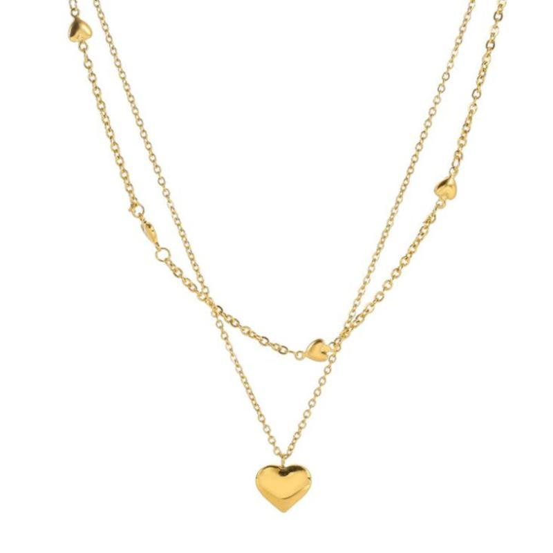 Stainless Steel Elegant 2 Layer Lovers Many Love Heart Charms Chain Choker Pendant Necklace For Women Fashion Fine Jewelry Chains