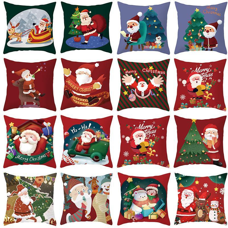 وسادة عيد الميلاد حالة سانتا كلوز سادة عيد الميلاد حزب الديكور الخوخ الجلد 45 * 45 سنتيمتر وسادة غطاء XD24768