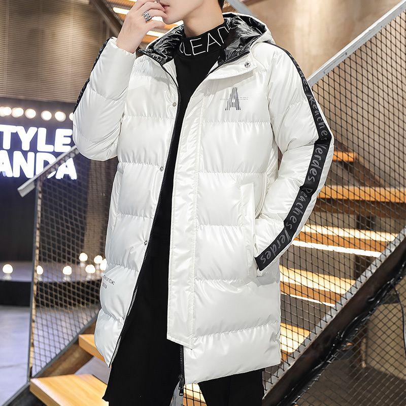 Männer Winterjacke und Mäntel Lange Stil 2021 Mode Gedruckt Baumwolle Gepolsterte Casual Slim Dicke Warme Outwear Müsli Männliche Kleidung