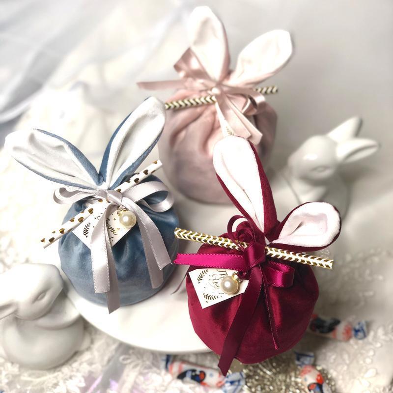 20 adet / grup Kulak Şeker Çanta Hatıra Hediye Paketleme Çanta Ile Yüksek dereceli Kadife Bezi Paketleme Çanta Düğün Parti Malzemeleri Wrap