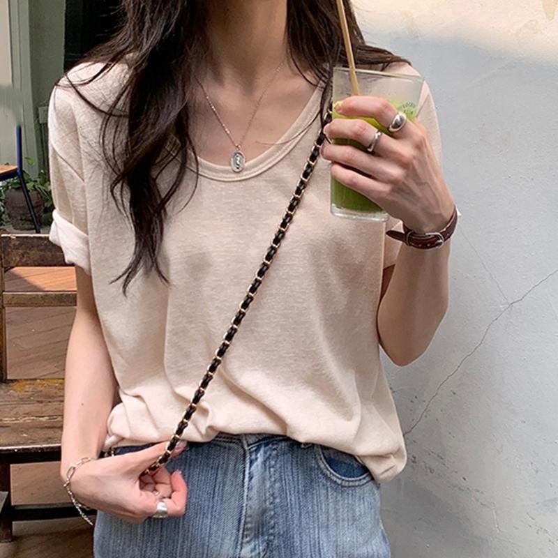 Kadın T-shirt Rahat Yaz T Gömlek Kısa Kollu Chic Kadınlar Kore Katı O-Boyun Tshirt Giyim Tops Kadın
