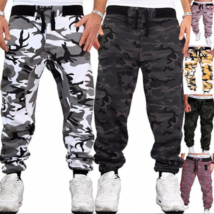 Calças Mens Camuflagem Corredores Slim Running Fitness Casual Ao Ar Livre Caminhada Longa Calças Streetwear
