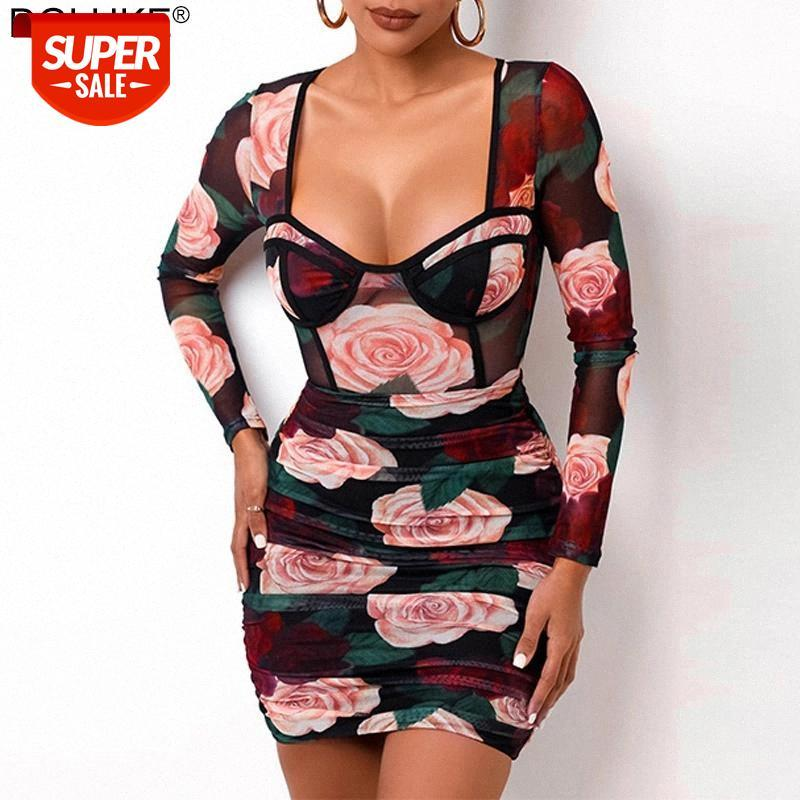 Прозрачная сетка сексуальное летнее платье женщины с длинным рукавом квадратный воротник Цветочные мини-платья Sheer Ruched Bodycon # FF9E